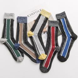 Женские хлопковые Дышащие носки контрастного цвета в стиле ретро, модные разноцветные хлопковые носки, 2019