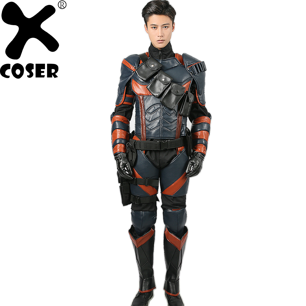 XCOSER Deathstroke Costume Batman Arkham Chevalier Cosplay Deluxe En Cuir PU Armure Tenues Superhero Costume Halloween Costume pour Hommes