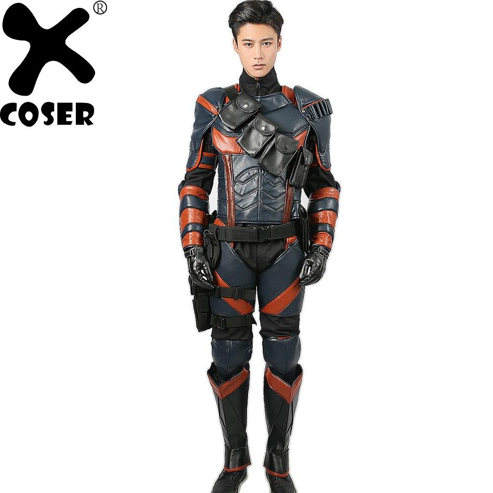 XCOSER Deathstroke Costume Batman Arkham Chevalier Cosplay simili cuir de luxe Armure Tenues Super-Héros Costume déguisement d'halloween pour Hommes