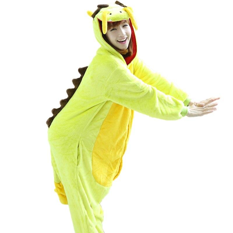Kigurumi Adult Flannel Animal Pajamas Sets Women Men Chinese Dragon Cosplay Onesie Winter Hooded Dinosaur Sleepwear Christmas Pyjamas