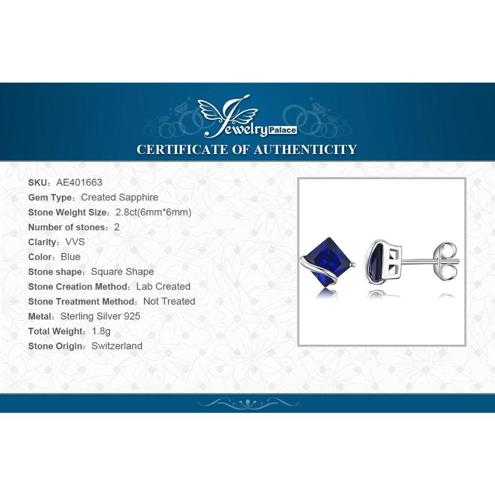 JewelryPalace Classic 2.8ct Ստեղծված Sapphire Stud - Նուրբ զարդեր - Լուսանկար 6