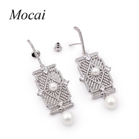 Mocai Luxury Square Shield Design Hollow Imitation Pearl Earring for Women AAA Cubic Zirconia Silver Color Crystals Jewelry Zk20