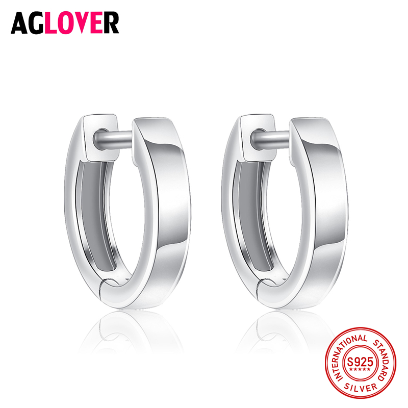 100% Genuine Real Pure Solid 925 Sterling Silver Hoop Earrings for Women Italy Polishing Jewelry Small Round Female