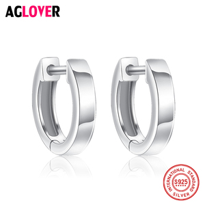100% Genuine Real Pure Solid 925 Sterling Silver Hoop Earrings for Women Italy Polishing Jewelry Small Round Female Earrings
