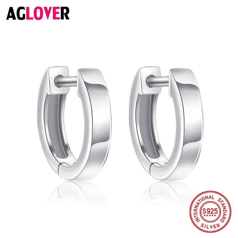 100% oryginalna prawdziwa czysta solidna 925 Sterling srebrne kolczyki koła dla kobiet włochy polerowanie biżuteria małe okrągłe kobiece kolczyki