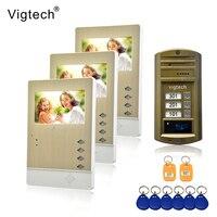 Vigtech 4,3 ''Цвет видео телефон двери 3 Мониторы с 1 внутрнний дверной звонок может управлять 3 домов для многоквартирных RFID Камера