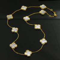 Acero inoxidable 316L Negro concha Blanca Onyx diez flor del trébol Collar de oro Fino rojo Natural shell Joyería de las mujeres