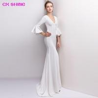 CX SHINE V NECK Blue Navy Red Half Sleeve Mermaid Trumpet Long Evening Dresses Robe De