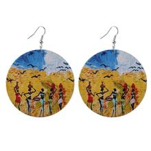 ZWPON 2019 African Tribal Big Round Disc Wood Earrings for Women Fashion Ethnic Totem Print Wooden Large Wholesale