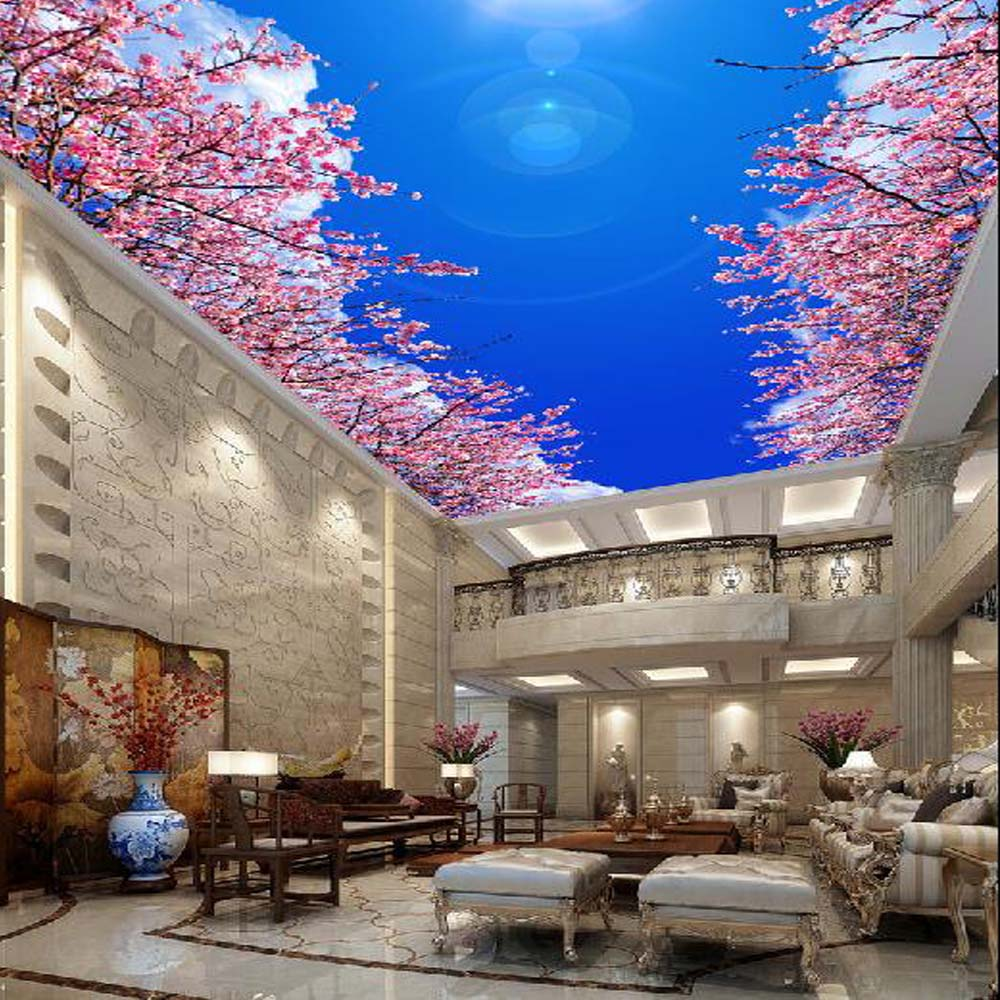 Blue Sky Clouds flower Ceiling Wallpaper Mural Wallpapers for Ceilings Peach Blossom Living Room Bedroom 3D Wall Papers Roll ceiling non woven wallpapr home decoration wallpapers for living room 3d mural wallpaper ceiling customize size