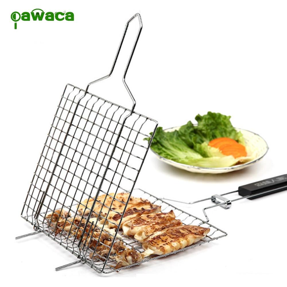 Portabel Bbq Grilling Basket 430 Stainless Steel Persegi Folder Weber Keranjang Ikan Besar Barbekyu Bersih Panggangan Daging Removable Kayu Menangani Alat Di Lain