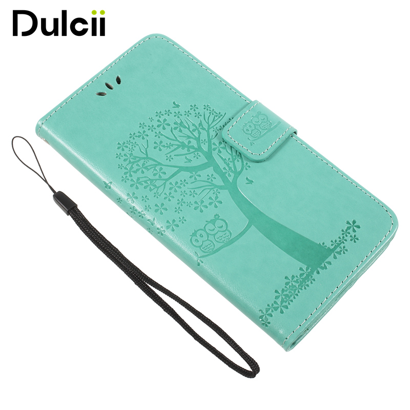 DULCII Imprint Tree Owl PU Leather Stand Mobile Wallet Case for Huawei Honor 7X
