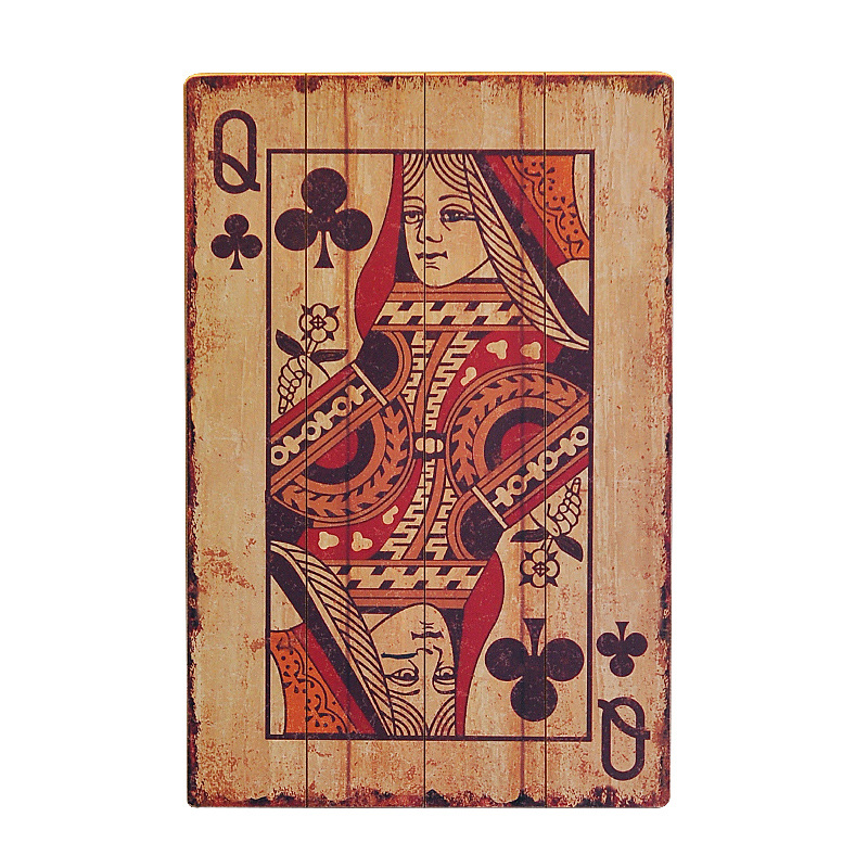 Nordic Decoration Home Vintage Playing Cards Wood Board Painting Hanging Ornaments Wooden Crafts Home Shop Background Wall Decor|Plaques & Signs| |  - title=