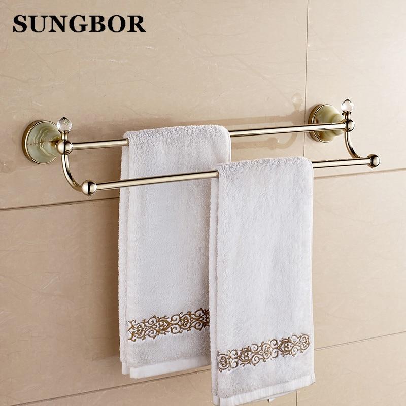 ФОТО Bathroom accessories golden brass 60cm Double towel bars bathroom towel rack wall mounted antique bathroom towel bars shelf