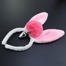Plugue de coelho com orelhas feminino, rabo de coelho de pelúcia com orelhas de metal anal para mulheres, presentes gay para o amante brinquedos sexuais