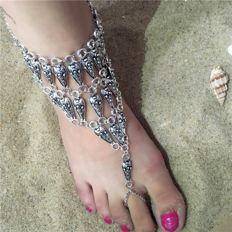 BeautyWay Vintage Antique Silver Color Arrow Shape Tassel Anklet for Women Punk Coin Charm Barefoot Chain