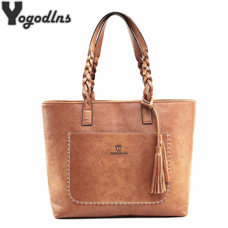 Fashion Leather Women Shoulder Bags Solid Big Handbag Large Capacity Top-handle Bags New Arrival High Quality Casual Tassel Bag new fashion women shoulder bags 2018 high quality pu leather handbag shoulder bag black zipper casual women bag large capacity