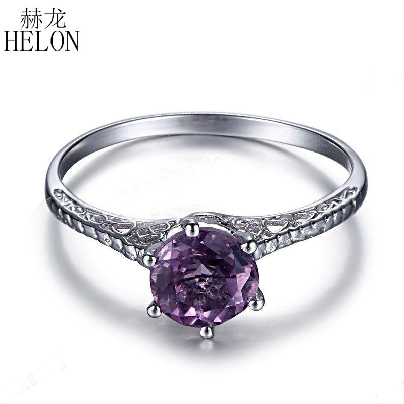 HELON Solid 14k White Gold Vintage Antique Jewelry Art Ladys Flawless 6.5mm Round 1CT Genuine Amethyst Engagement Wedding RingHELON Solid 14k White Gold Vintage Antique Jewelry Art Ladys Flawless 6.5mm Round 1CT Genuine Amethyst Engagement Wedding Ring