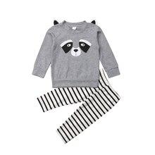 2Pcs Newborn Infant Baby Boy Girls Cotton Raccoon cat Tops T shirt Striped Pants Trousers Outfits Clothes Set 2019
