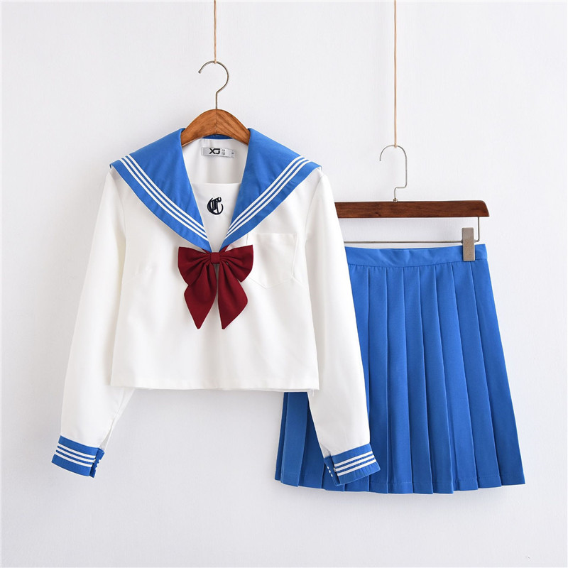 Light Blue School Girl Japanese Long Sleeve Sailor Suits Full Set Girl College Middle High School Students Uniforms S-XL