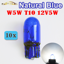 Hippcron T10 W5W 501 194 натуральное голубое стекло сигнальная лампа 12В 5 Вт W2.1x9.5d Одиночная нить супер белый шарик автомобиля(10 шт