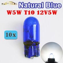 Hippcron lâmpada led para sinal de vidro, t10 w5w 501 194 natural, azul, 12v, 5w, filamento único, super branco, para carro lâmpada (10 peças)