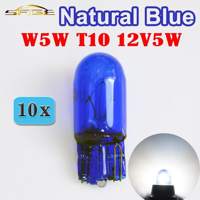 Hipcron t10 w5w 501 194 lâmpada de sinal de vidro azul natural 12 v 5 w w2.1x9.5d único filamento super branco carro lâmpada (10 pçs)