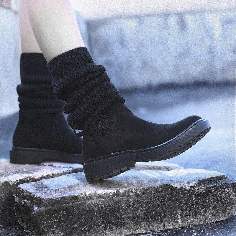 2 black 2 Cálidas Negro 1 purple Femeninas Invierno 43 Nieve De Talla Style Púrpura Para Tobillo Planos Black Botas purple Zapatos 1 Tacones Mujer Y1gwHU