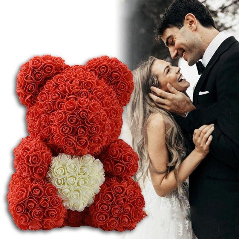 23/40 cm Oso de rosas, regalo de día de San Valentín flores artificiales casa boda Festival DIY decoración de la boda caja de regalo guirnalda artesanías