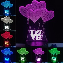GAOPIN Four Heart With Love Shaped 3D Lamp LED USB Lamp Light Colors Changing Table Night
