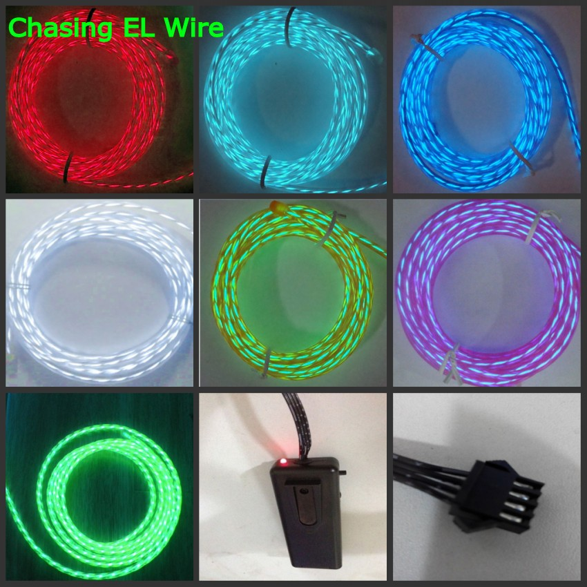 цена на 1m/3m/5M CHASING EL Wire 3V Battery case Powered Flexible led Neon Light strip Tube Rope Car Party Clothing Wedding + controller