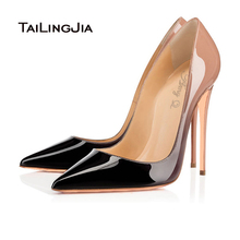2016 Sexy Women Black And Nude Gradient Patent Leather Pointy Evening Dress Pumps High Heels Ladies Party Shoes Free Shipping