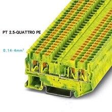 Феникс Тип быстрая проводка быстрый разъем din-рейку комбинированный нажимной пружинный Безвинтовой заземляющий клеммный блок PT2.5 QUATTRO-PE