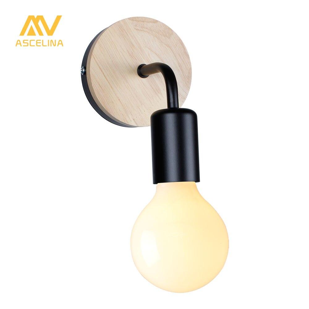 Modern Northern Europe Vintage Wood Metal wall Lamp Industrial Indoor Lighting Bedside Lamps LED Wall Industrial Indoor light