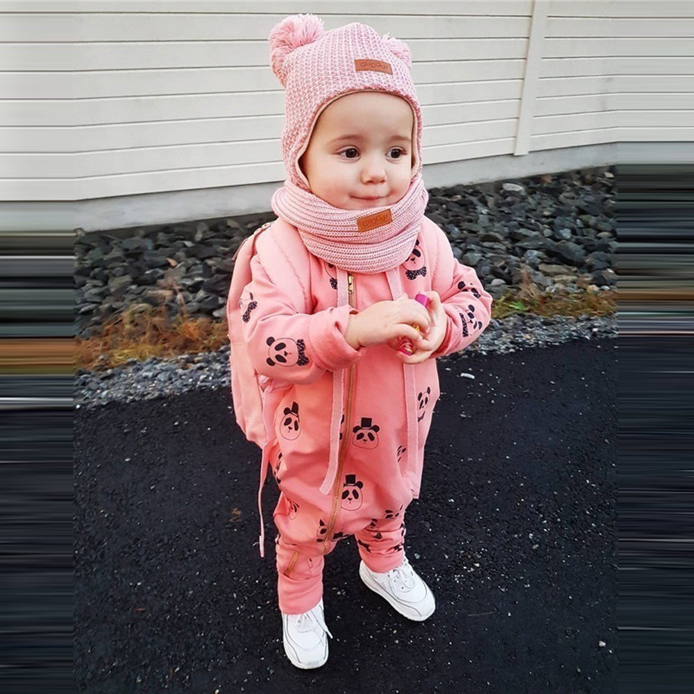 Cute Romper Infant Baby Girl Boy Toddler Hooded Romper Jumpsuit Fashion Lovely Cartoon Panda Zipper Romper Clothes disfraz bebe