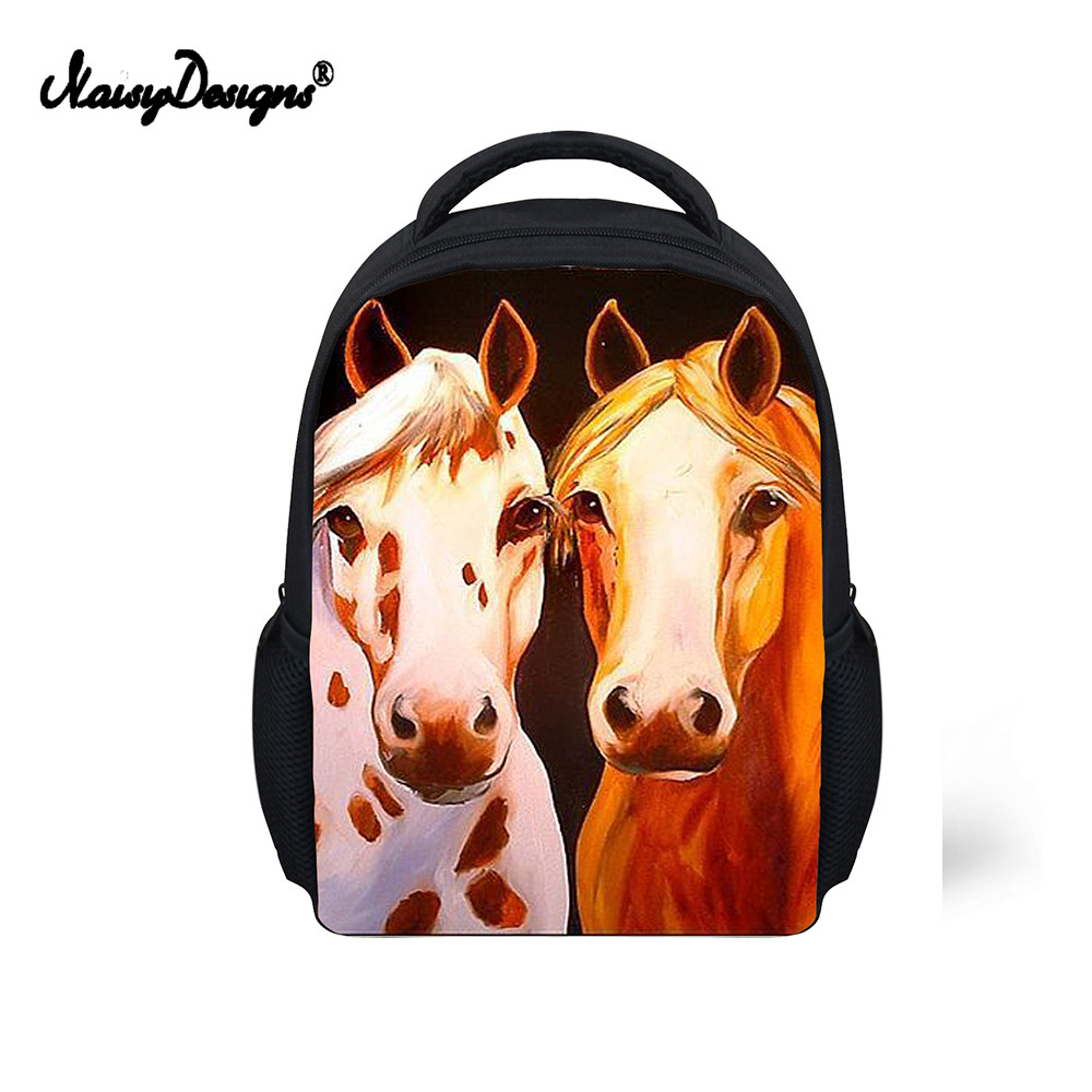 Fast Deliver Noisedesigns Black Crazy Horse School Bag For Teenager Boys Girls Unique Children Kids Book Bag 3d Print Animal Schoolbags Kpop Luggage & Bags