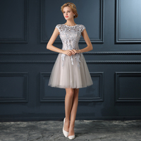 2015 New Hot Sale Elegance U Collar Silver Grey Party Dresses Bridal Short Lace Bandage Evening