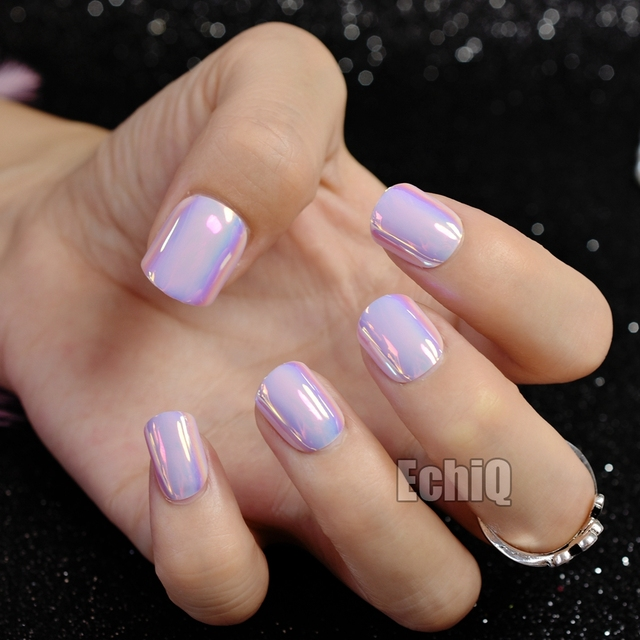 24pcs Symphony Pink Artificial Press On Nails Short Size False Nail Design Tips Easy Diy Faux
