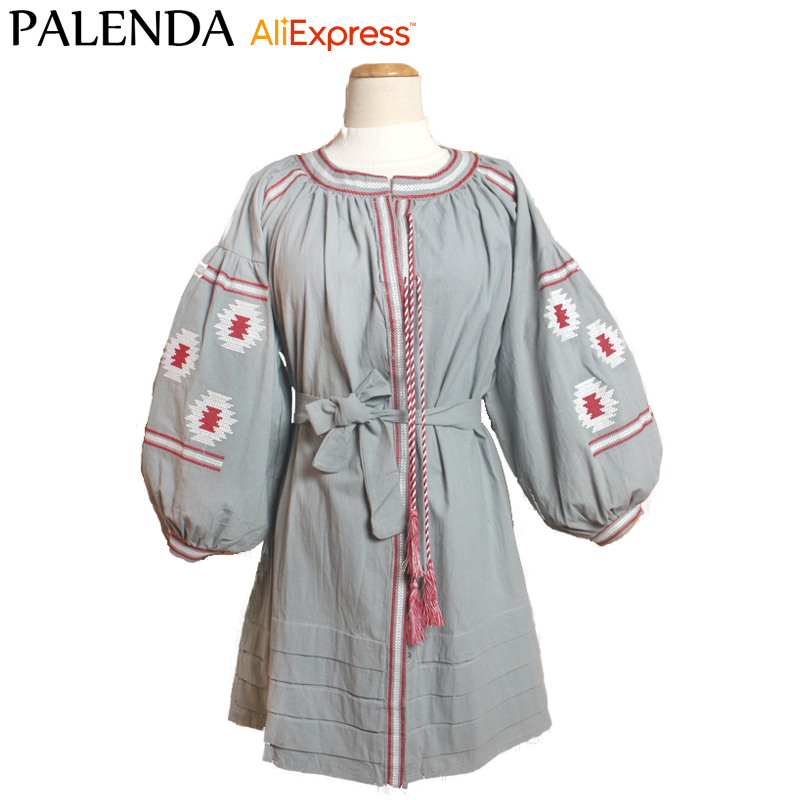 boho dress autumn new bohemian women dress embroidery lantern sleeve gray color bandage on waist flowers cotton kaftans loose