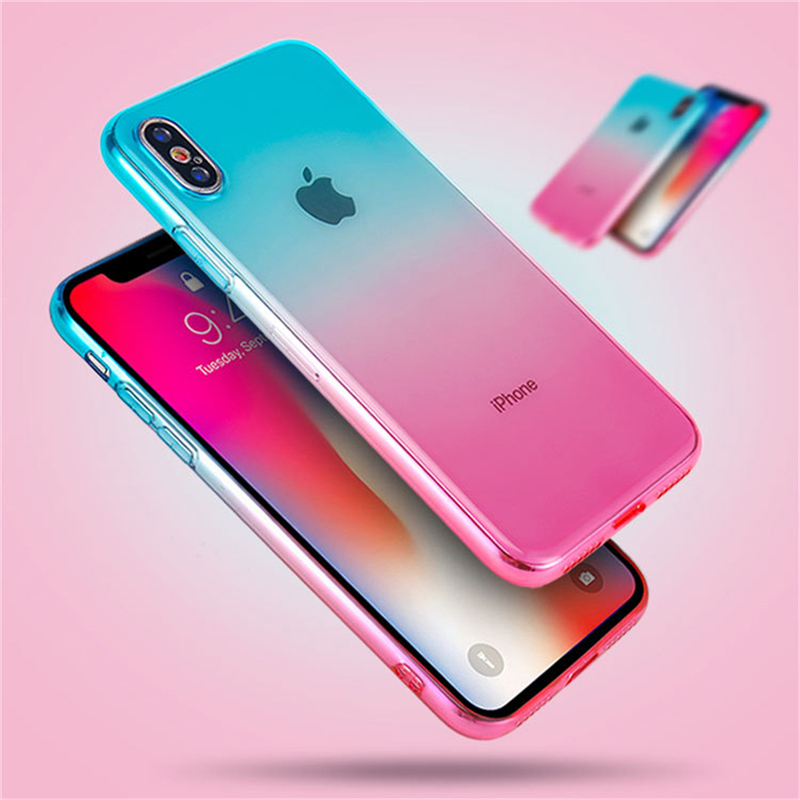 Eleteil Transparent Case For Iphone 7 Case 6 6s 7 8 Plus Cases Simple Gradient Clear Soft Back Cover For Iphone X Xr Xs Max E40 Sufficient Supply Cellphones & Telecommunications