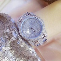 New Hot Chain Gold and Silver Rose Gold Watch Without Digital Rhinestone Dial Metal Strap Female Watch Fashion Casual