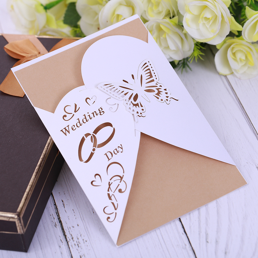 Eleva Ice White Color Fashion Wedding Day Butterfly Decoration Wedding Invitation Card Elegant Laser Cut Sticker Kit