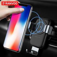 ФОТО RANVOO Car Mount Qi Wireless Charger  iPhone X 8  10W Fast Wireless Charging Air Vent Car Holder Stand  Samsung S8 S9
