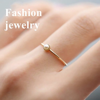 Anillo chapado en oro nuevo 14k Incrustaciones de oro perlas de champán naturales anillos simples para compromiso de boda
