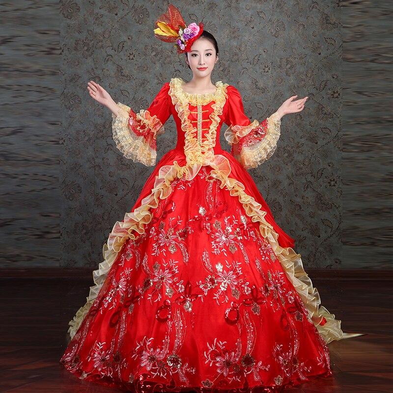 Индивидуальные 2018 Мода Красный квадратный воротник длинный рукав клеш викторианская эпоха платье костюм для женщин прямая покупка