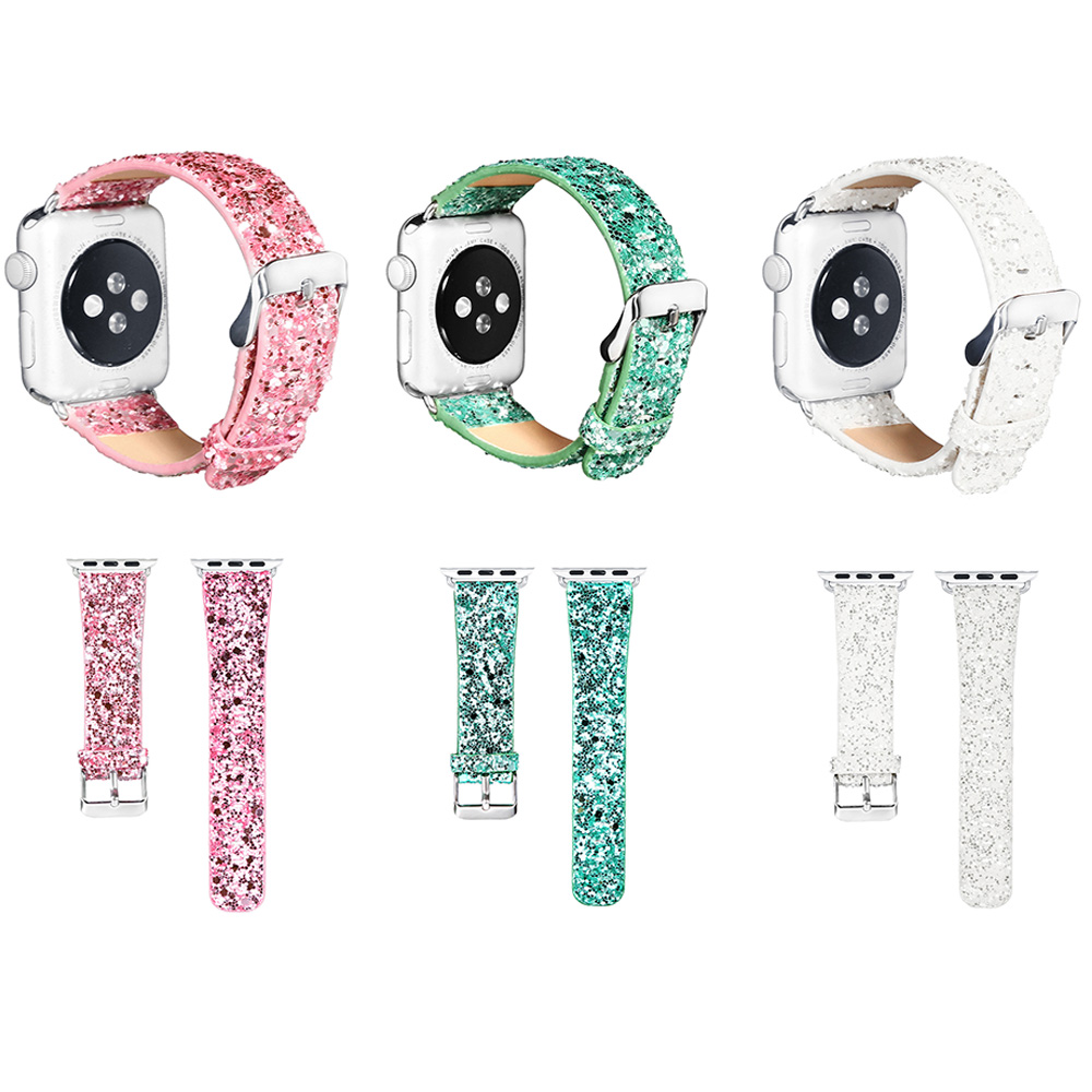Leather Band for Apple Watch 38 42mm Series 1 2 Glitter Powder Shinny Christmas Bling Bracelet