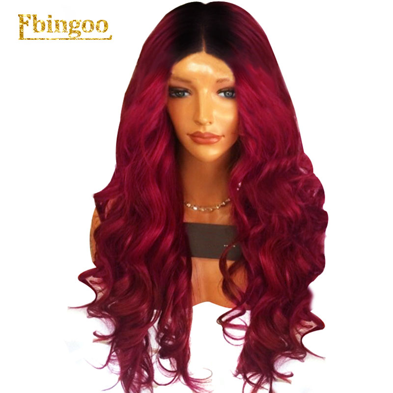 Ebingoo Hair Cap Dark Roots Ombre Burgundy Long Body Wave Wavy Synthetic Lace Front Wig for