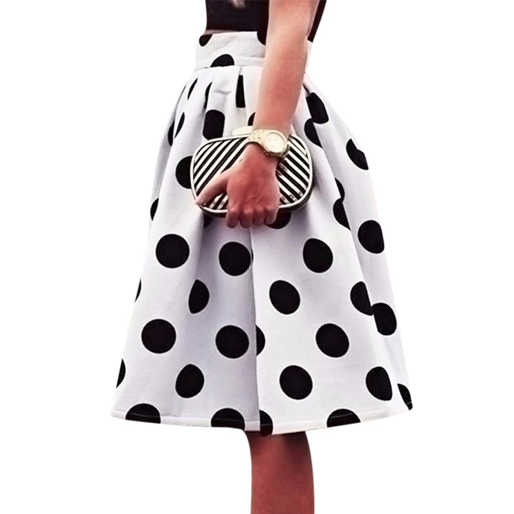 New Stylish Women Skirts Clothes Summer Stretch High Waist Plain Polka Dot Cotton Flared Pleated Sexy Skirts One Pieces
