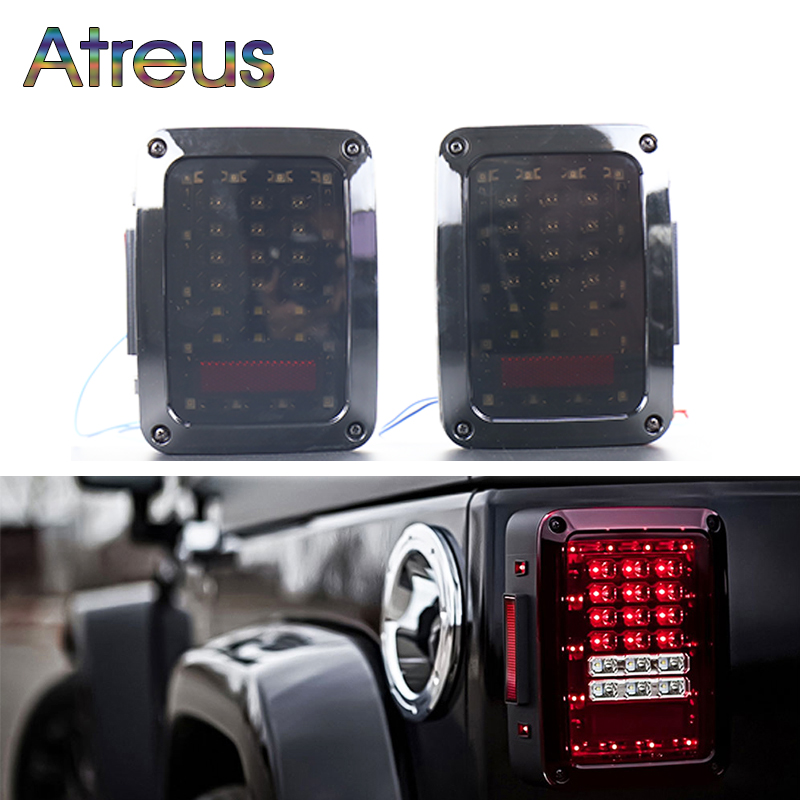 Atreus For Jeep Wrangler accessories 1Pair Car LED Tail light Brake Lights 12V 24V USA/EU Reverse Light Signal Lamp Assembly car styling tail lights for toyota highlander 2015 led tail lamp rear trunk lamp cover drl signal brake reverse