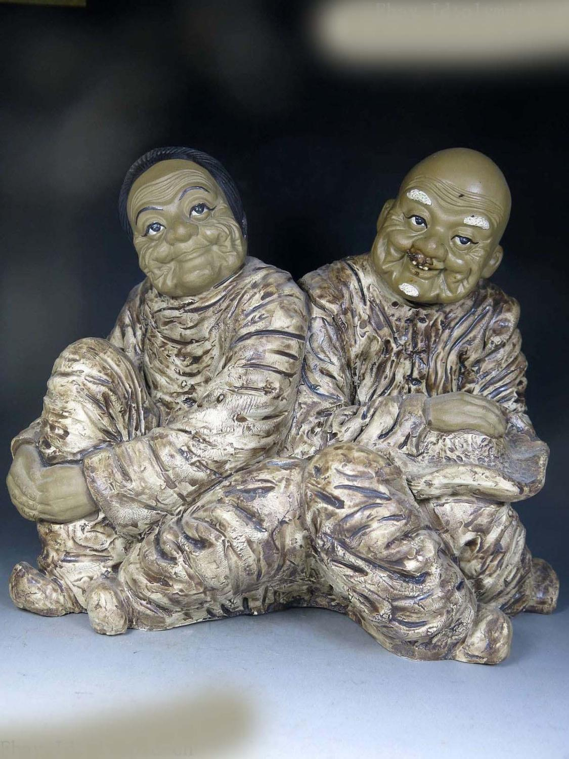 """10"""" China handmade Pottery sculpture happy family old husband and wife Statue (D0426)